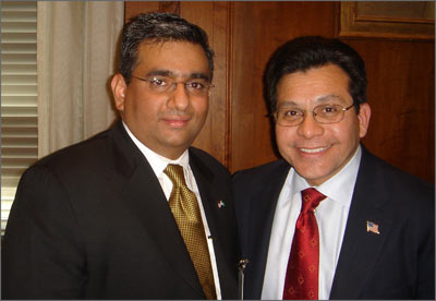 Raza Bokhari with U.S. Attorney General Alberto Gonzales