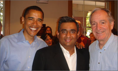 Raza Bokhari with U.S. Senators Barack Obama and Tom Harkins