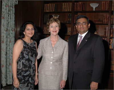 Sabina and Raza Bokhari with First Lady Laura Bush