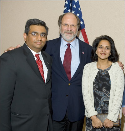 Sabina and Raza Bokhari with New Jersey Governor John Corzine