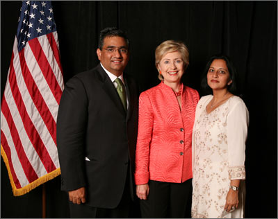 Sabina and Raza Bokhari with U.S. Senator Hillary Rodham Clinton