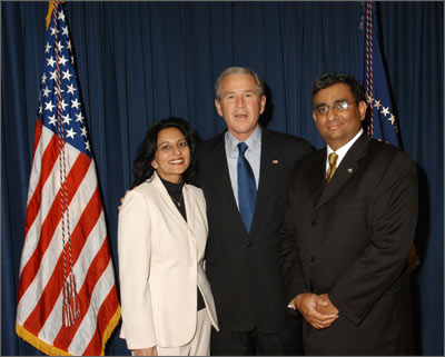 Sabina and Raza Bokhari with President George W. Bush