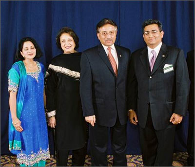 Sabina and Raza Bokhari with Pakistan President Pervez Musharraf