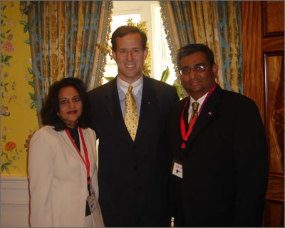 Sabina and Raza Bokhari with former U.S. Senator Rick Santorum