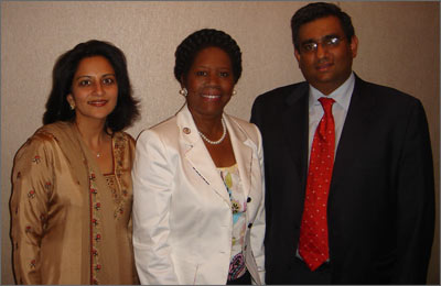 Sabina and Raza Bokhari with U.S. Representative Sheila Jackson Lee