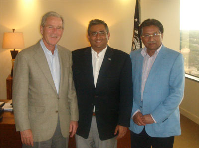 Raza with President(s) Bush and Musharraf